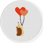 Hedgehog with Balloons Cross Stitch Illustration