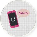 Hello Smartphone Cross Stitch Illustration