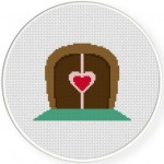Love Door Cross Stitch Illustration