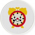 Mr. Clock Cross Stitch Illustration