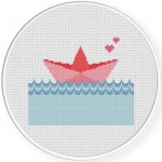 Paper Boat Cross Stitch Illustration