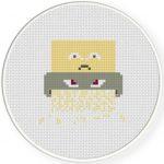 Paper Shredder Cross Stitch Illustration