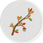 Pretty Autumn Branch Cross Stitch Illustration