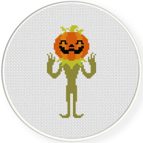 Pumpkin Man Cross Stitch Illustration