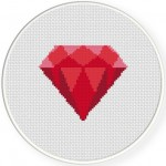 Red Diamond Cross Stitch Illustration