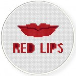 Red Lips Cross Stitch Illustration