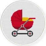Red Stroller Cross Stitch Illustration