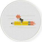 Rocket Pencil Cross Stitch Illustration