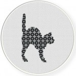 Scaredy Cat Cross Stitch Illustration