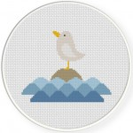 Seagull On The Rock Cross Stitch Illustration