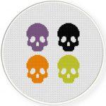 Spooky Skulls Cross Stitch Illustration