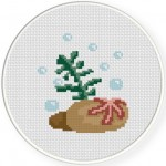 Starfish With Sea Weeds Cross Stitch Illustration