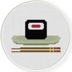 Sushi And Chopsticks Cross Stitch Illustration