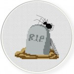 Tombstone With Spider Cross Stitch Illustration