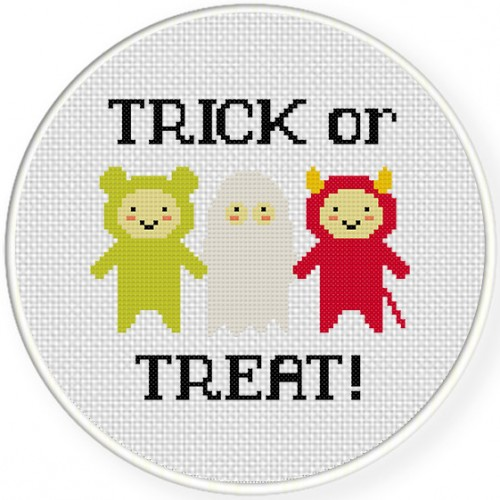 Trick Or Treat Kids Cross Stitch Illustration