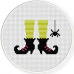 Witch's Feet Cross Stitch Illustration