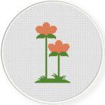 Zen Flower Cross Stitch Illustration
