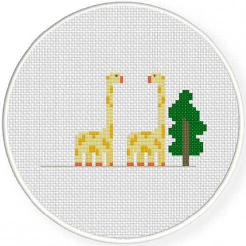 2 Giraffe And A Tree Cross Stitch Illustration