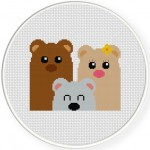 Bear Family Cross Stitch Illustration