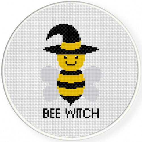 Bee Witch Cross Stitch Illustration
