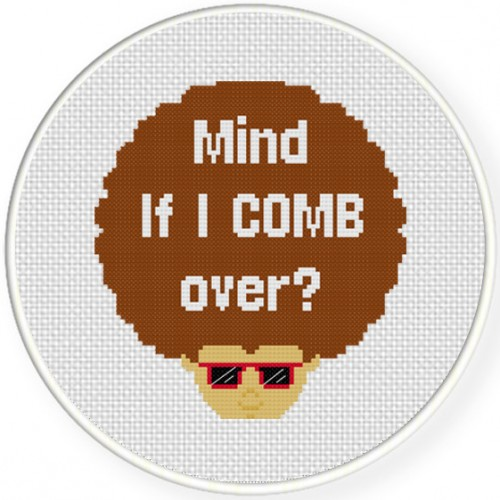 Big Hair Cross Stitch Illustration