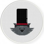Big Hat Cat Cross Stitch Illustration