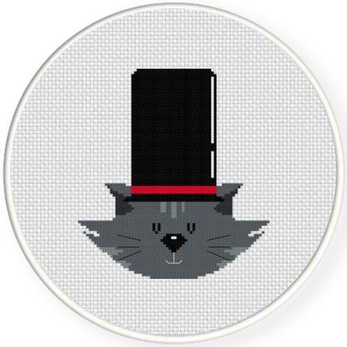 Big Hat Cat Cross Stitch Illustration