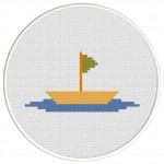 Boat With Flag Cross Stitch Illustration
