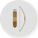 Bow Quiver And Arrows Cross Stitch Illustration