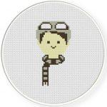 Boy Skii Headgear Cross Stitch Illustration
