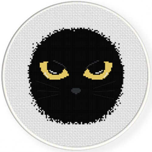 Cat Eyes Cross Stitch Illustration