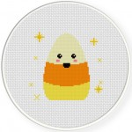 Cute Candy Corn Cross Stitch Illustration