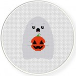 Ghost With Pumpkin Cross Stitch Illustration