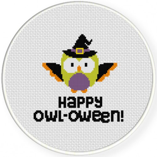 Happy Owl-oween! Cross Stitch Illustration