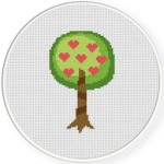 Heart Tree Cross Stitch Illustration
