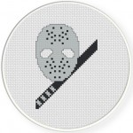 Hockey Mask and Sword Cross Stitch Illustration
