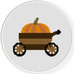 Pumpkin Cart Cross Stitch Illustration