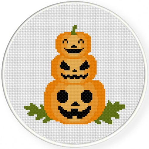 Pumpkin Tower Cross Stitch Illustration