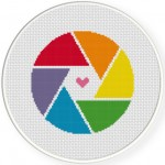 Rainbow Shutter Cross Stitch Illustration