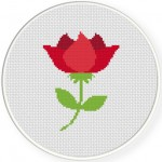 Red Rose Cross Stitch Illustration
