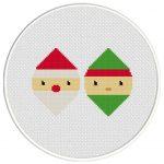 Santa And Elf Cross Stitch Illustration