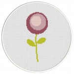 Simple Purple Flower Cross Stitch Illustration