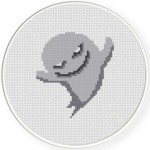 Smiling Ghost Cross Stitch Illustration