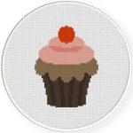 Strawberry Choco Cupcake Cross Stitch Illustration