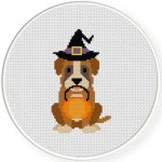 Trick Or Treat Puppy Cross Stitch Illustration