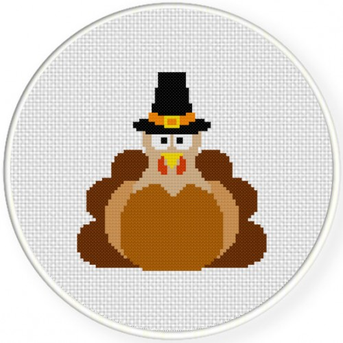 Turkey Pilgrim Cross Stitch Illustration