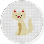 White Cute Cat Cross Stitch Illustration