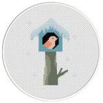 Winter Birdhouse Cross Stitch Illustration
