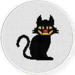 Witch Black Cat Cross Stitch Illustration