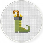 Candy Elf Boots Cross Stitch Illustration